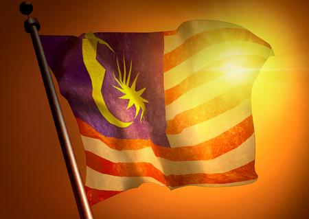 winner waving Malaysian flag against the sunset
