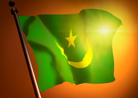 winner waving Mauritania flag against the sunset