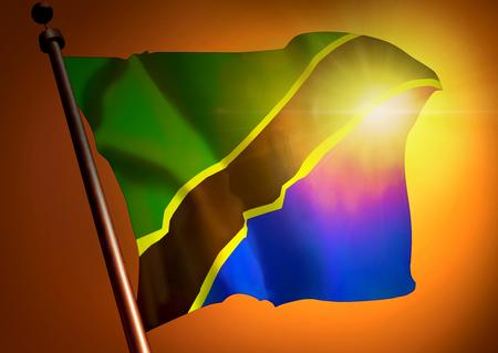 winner waving Tanzania flag against the sunset 版權商用圖片