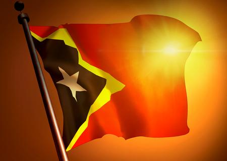 winner waving East flag against the sunset 版權商用圖片