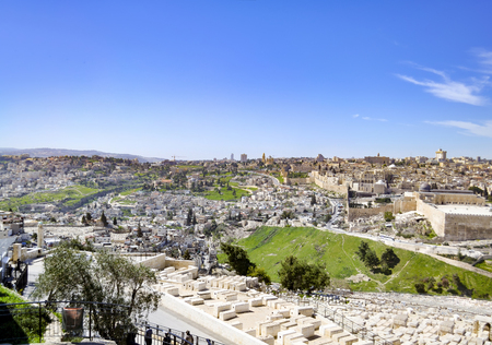 Panoramic view to Jerusalem Old city and the Temple Mount, Dome of the Rock and Al Aqsa Mosque from the Mount of Olives in Jerusalem, Israel Stock Photo