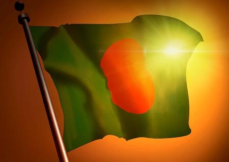 winner waving Bangladesh flag against the sunset 版權商用圖片