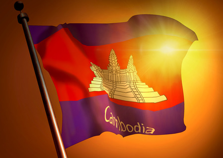 winner waving Cambodia flag against the sunset 版權商用圖片