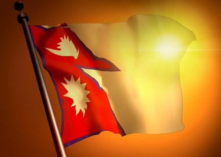 Winner waving Nepal flag against the sunset
