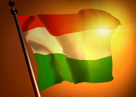 winner waving Hungary flag against the sunset 版權商用圖片