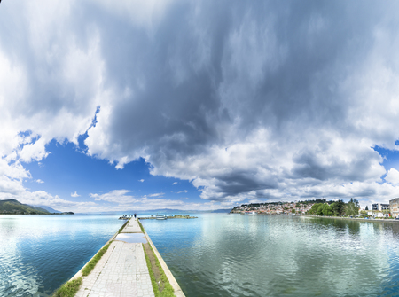 Ohrid with Ohrid Lake, Port and Old City, Macedonia - Panorama, sky copyspace