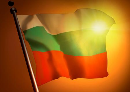 winner waving Bulgaria flag against the sunset