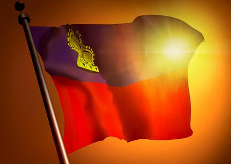 winner waving Liechtenstein flag against the sunset