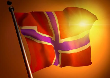 winner waving Norway flag against the sunset 版權商用圖片