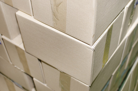 Detail of warehouse cardboard boxes ready for delivery. Print plant Stock Photo
