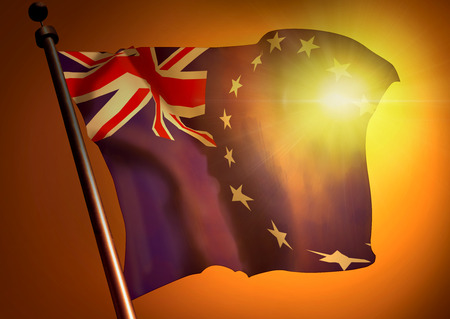 Winner waving Cook Islands flag against the sunset