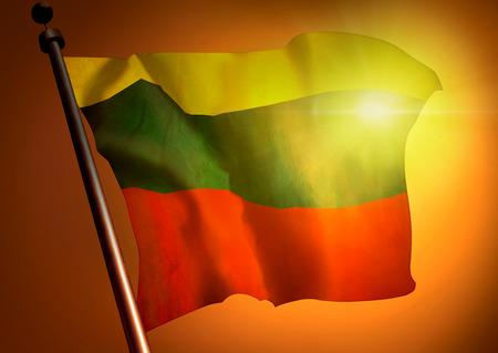 Winner waving Lithuania flag against the sunset