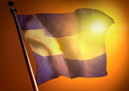 winner waving Argentina flag against the sunset 版權商用圖片