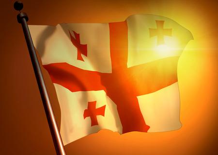 winner waving Georgia flag against the sunset