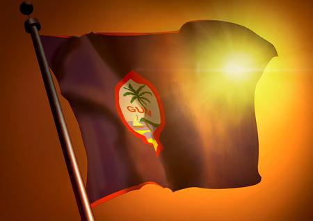 Winner waving Guam flag against the sunset