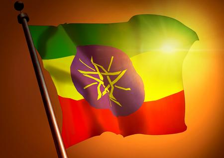 winner waving Ethiopia flag against the sunset