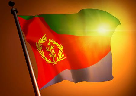 winner waving Eritrea flag against the sunset