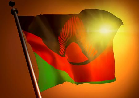 winner waving Malawi flag against the sunset 版權商用圖片