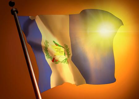 winner waving Guatemala flag against the sunset 版權商用圖片