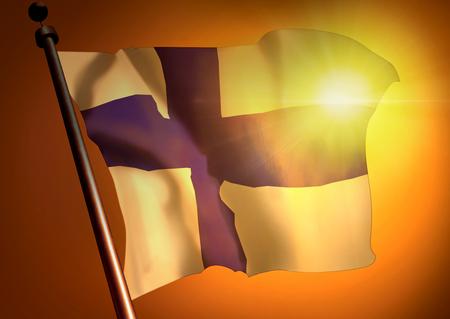 winner waving Finland flag against the sunset 版權商用圖片