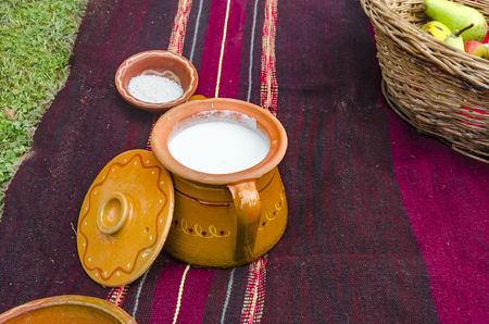 Ethno Ceramic bowl and sower milk on traditional rug Stockfoto