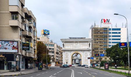 SKOPJE, MACEDONIA - circa NOE, 2016: Gate Of Triumph, Macedonia and statue of Alexander the great (worior)