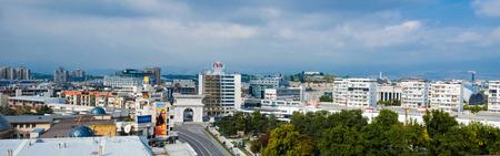 SKOPJE, MACEDONIA - circa NOE, 2016: Panoramic Skyline of Skopje with view of Gate Macedonia and statue of Alexander the Great