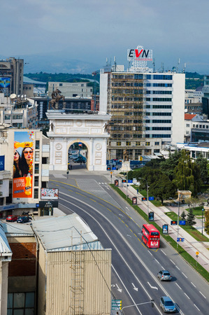 SKOPJE, MACEDONIA - circa NOE, 2016: Skyline of Skopje with view of Gate Macedonia and statue of Alexander the Great, vertical