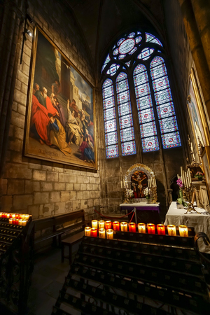 Paris, France- circa May, 2017: Interior view of Notre-Dame Cathedral, a historic Catholic cathedral considered to be one of the finest examples of French Gothic architecture in Paris, France