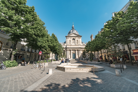 Paris, France- circa May, 2017: Sorbonne square and Sorbonne edifice. Name is derived from College de Sorbonne (1257) by Robert de Sorbon as one of first colleges of medieval University in Paris