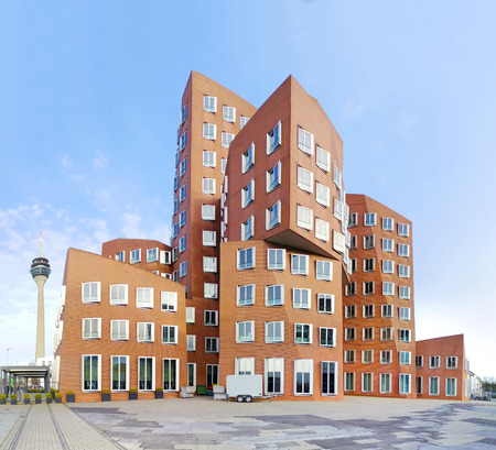 Modern futuristic looking buildings in Düsseldorf, Germany, Office Building Exterior, City, Building Exterior