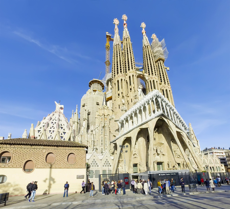 La Sagrada Familia - the impressive cathedral designed by Gaudi, which is being build since 19 March 1882 and is not finished yet February 10, 2016 in Barcelona, Spain Éditoriale