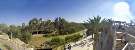 Panorama of Baptismal site Qasr el Yahud on the Jordan river near Yericho is according to the bible the place where Jesus Christ is being baptized by John the baptist