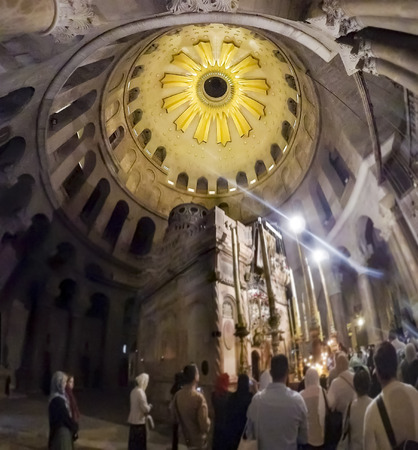Pilgrims and tourists are waiting to enter Aedicule in Church of the Holy Sepulchre, the world greatest Christian shrine in Jerusalem, Israel Editorial