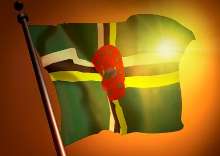 winner waving Dominica flag against the sunset