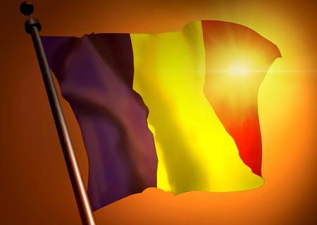 winner waving Chad flag against the sunset 版權商用圖片