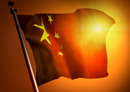 winner waving China flag against the sunset 版權商用圖片