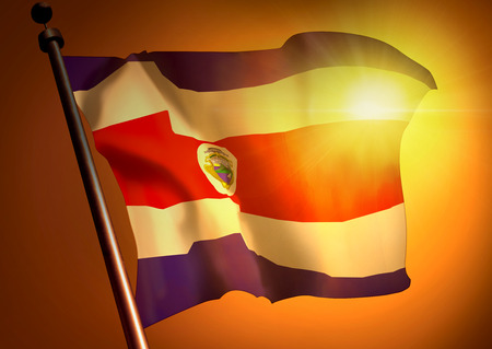 winner waving Costa Rica flag against the sunset 版權商用圖片