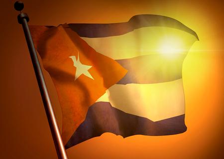 winner waving Cuba flag against the sunset 版權商用圖片