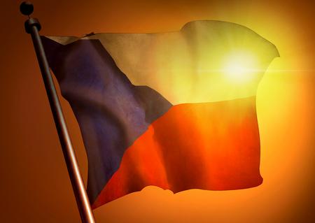 winner waving Czech Republic flag against the sunset