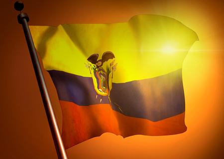 winner waving Ecuador flag against the sunset