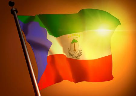 winner waving Equatorial Guinea flag against the sunset