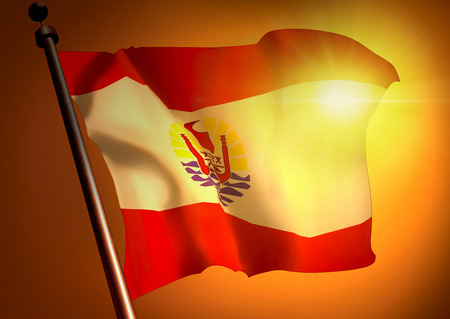 winner waving French Polynesia flag against the sunset