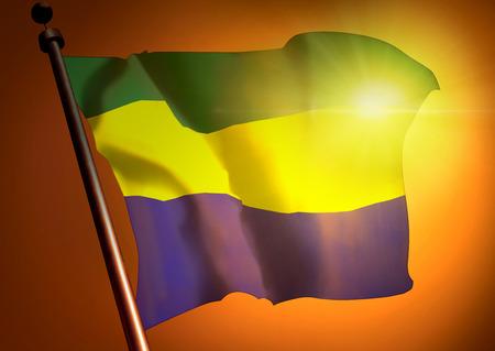 winner waving Gabon flag against the sunset
