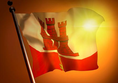 winner waving Gibraltar flag against the sunset