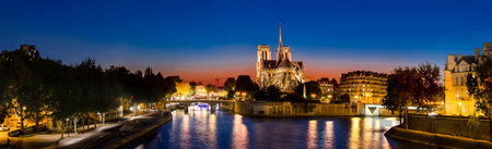 Panorama of The Cathedral of Notre Dame de Paris, France at sunset Stock fotó