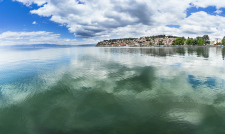 Panoramic view on city of Ohrid in Macedonia, lake copyspace Stock Photo