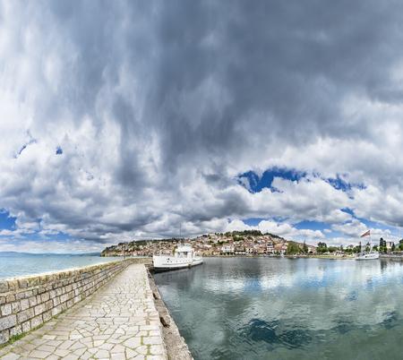 Dock in Ohrid. City Ohrid and Lake Ohrid
