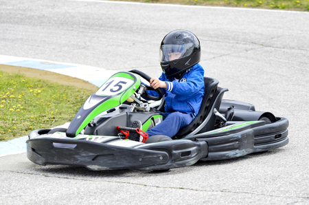 The racer on carting.Cars races