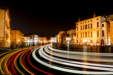 Grand Canal evening with light trails in Venice, Italy Zdjęcie Seryjne